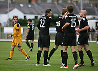 Photo: Rich Eaton.<br /> <br /> Carmarthen Town v SK Brann. UEFA Cup Qualifying. 19/07/2007. SK Brann's Thorstein Helstad #22 is congratulated by teammates after his first half goal.