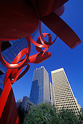 Image of a sculpture with downtown buildings in Dallas, Texas, American South by Randy Wells