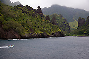 Fishing boat, Hanavave, Island of Fatu Hiva, Marquesas Islands, French Polynesia<br />