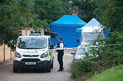 © Licensed to London News Pictures. 07/07/2019.<br /> Blackheath,UK.Police inside cordon guarding police tents. A murder investigation has been launched by Met police after the body of a woman has been found at garages in Blackheath, London. Police have cordoned off the scene. Photo credit: Grant Falvey/LNP