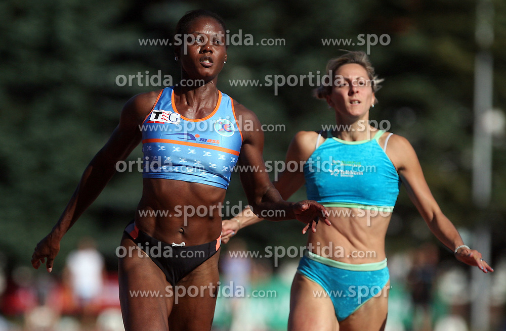 Merlene Ottey and Alenka Bikar at Athletic National Championship of Slovenia, on July 19, 2008, in Stadium Poljane, Maribor, Slovenia. (Photo by Vid Ponikvar / Sportal Images).