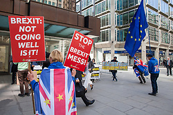 London, UK. 30th April 2019. Activists from SODEM (Stand of Defiance European Movement) protest outside Labour Party HQ as Labour Party NEC members arrive for a meeting to confirm plans for Labour's EU election manifesto, including its stance with regard to a second referendum.
