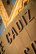 Tilted close-up of city sign, Cadiz, Andalusia, Spain