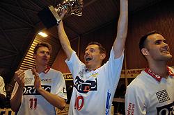 27-02-2005;VOLLEYBAL;FINAL 4 BEKER;ORTEC NESSELANDE-VC OMNIWORLD;AMSTELVEEN<br /> <br /> Nesselande wint vrij eenvoudig de finale van Omniworld dat met 3-0 onderuit ging -  - <br /> <br /> ©2005-WWW.FOTOHOOGENDOORN.NL