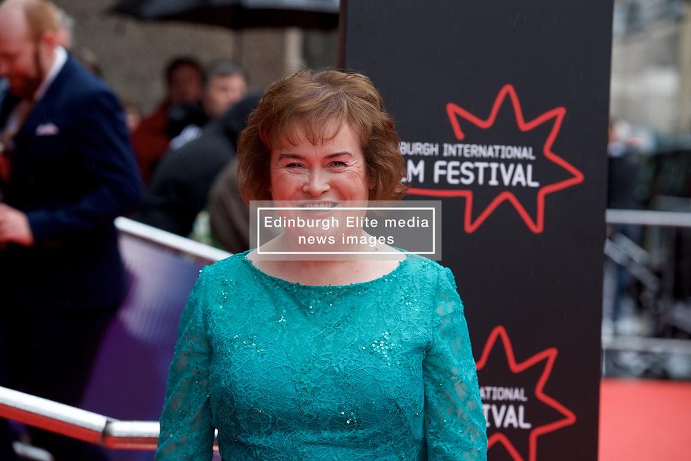 "Susan Boyle, on the red carpet at the Edinburgh International Film Festival world Premier of ""England is Mine"" at Edinburgh's Festival Theatre. Sunday, 2nd July, 2017(c) Brian Anderson   Edinburgh Elite media"