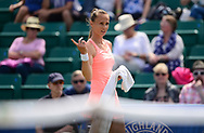 Magdalena Rybarikova (SVK) during her match against Alison Riske (USA). The Aegon Open Nottingham 2017, international tennis tournament at the Nottingham tennis centre in Nottingham, Notts , day 4 on Thursday 15th June 2017.<br /> pic by Bradley Collyer, Andrew Orchard sports photography.