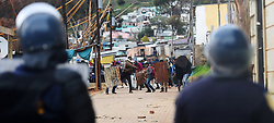 South Africa - Cape Town - 12 August 2020 - Public Order Police trying to control unruly residents of Khayamandi in Stellenbosch who were protesting for better living conditions.The police tried to contain them in ther area but pelting of stones and shooting of rubber bullets started at they clashed.Picture :Phando Jikelo/African News Agency(ANA)