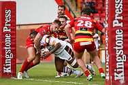 Bradford Bulls replacement Ross Peltier (17) scores a try to make the score  10-12 during the Kingstone Press Championship match between Dewsbury Rams and Bradford Bulls at the Tetley's Stadium, Dewsbury, United Kingdom on 10 September 2017. Photo by Simon Davies.