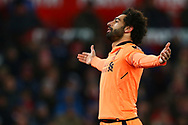 Mohamed Salah of Liverpool celebrates after scoring his teams 2nd goal. Premier league match, Stoke City v Liverpool at the Bet365 Stadium in Stoke on Trent, Staffs on Wednesday 29th November 2017.<br /> pic by Chris Stading, Andrew Orchard sports photography.