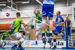 Jasper Diefenbach #16 of Orion, Dennis Borst #18 of Lycurgus in action during the supercup final between Amysoft Lycurgus - Active Living Orion on October 04, 2020 in Van der Knaaphal, Ede