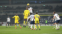 Fulham's Tosin Adarabioyo and Tottenham Hotspur's Davinson Sanchez challenge for a cross<br /> <br /> Photographer Rob Newell/CameraSport<br /> <br /> The Premier League - Tottenham Hotspur v Fulham - Wednesday 13th January 2021 - Tottenham Hotspur Stadium - London <br /> <br /> World Copyright © 2021 CameraSport. All rights reserved. 43 Linden Ave. Countesthorpe. Leicester. England. LE8 5PG - Tel: +44 (0) 116 277 4147 - admin@camerasport.com - www.camerasport.com