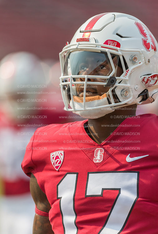 PALO ALTO, CA - SEPTEMBER 26:  Kyu Blu Kelly #17 of the Stanford Cardinal plays in an NCAA Pac-12 college football game against the UCLA Bruins on September 26, 2021 at Stanford Stadium in Palo Alto, California.  (Photo by David Madison/Getty Images)