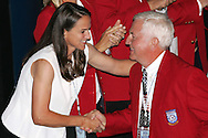 28 August 2006: 2006 Hall of Fame inductee Al Trost (right) shakes hands with co-inductee Carla Overbeck (left). The National Soccer Hall of Fame Induction Ceremony was held at the National Soccer Hall of Fame in Oneonta, New York.