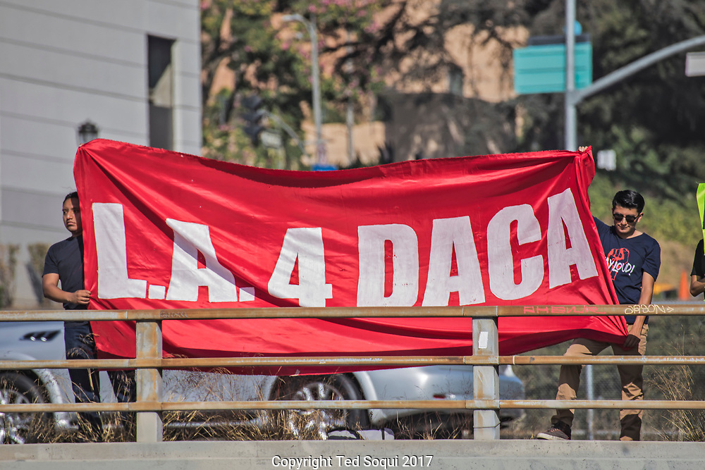 Dreamers and supporters of DACA hold banners over the 101 overpass in downtown LA.