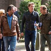 NLD/Laren/20130102 - Uitvaart John de Mol Sr., Anita Meyer met ex partner en manager Ton de Leeuwe samen met Edwin Evers en Jeroen Rietbergen verlaten de kerk