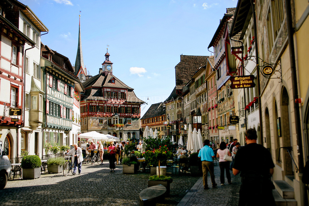 A view of a historic, bustling marketplace located in Stein em Rhein, Switzerland