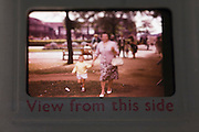 A detail of an old family photo taken on 35mm transparency slide from the 1960s.