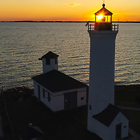 Tibbetts Point Lighthouse at the mouth of the St. Lawrence River and Lake Ontario August 6, 2020.