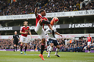 Anthony Martial of Manchester United controls the ball. Barclays Premier league match, Tottenham Hotspur v Manchester Utd at White Hart Lane in London on Sunday 10th April 2016.<br /> pic by John Patrick Fletcher, Andrew Orchard sports photography.