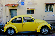 Vintage car. Yellow Volkswagen Type 1 AKA Beetle