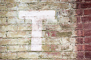 The letter 'T' painted on a deteriorating brick wall. Missoula Photographer