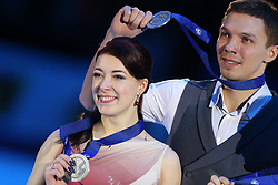 January 20, 2018 - Moscow, Russia - Silver medallists Ekaterina Bobrova and Dmitri Soloviev of Russia pose with their medals after the ice dance free dance at the ISU European Figure Skating Championships in Moscow, on January 20, 2018. (Credit Image: © Igor Russak/NurPhoto via ZUMA Press)