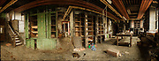 Panorama of abandoned toolmakers workshop in Sheffield, South Yorkshire, UK