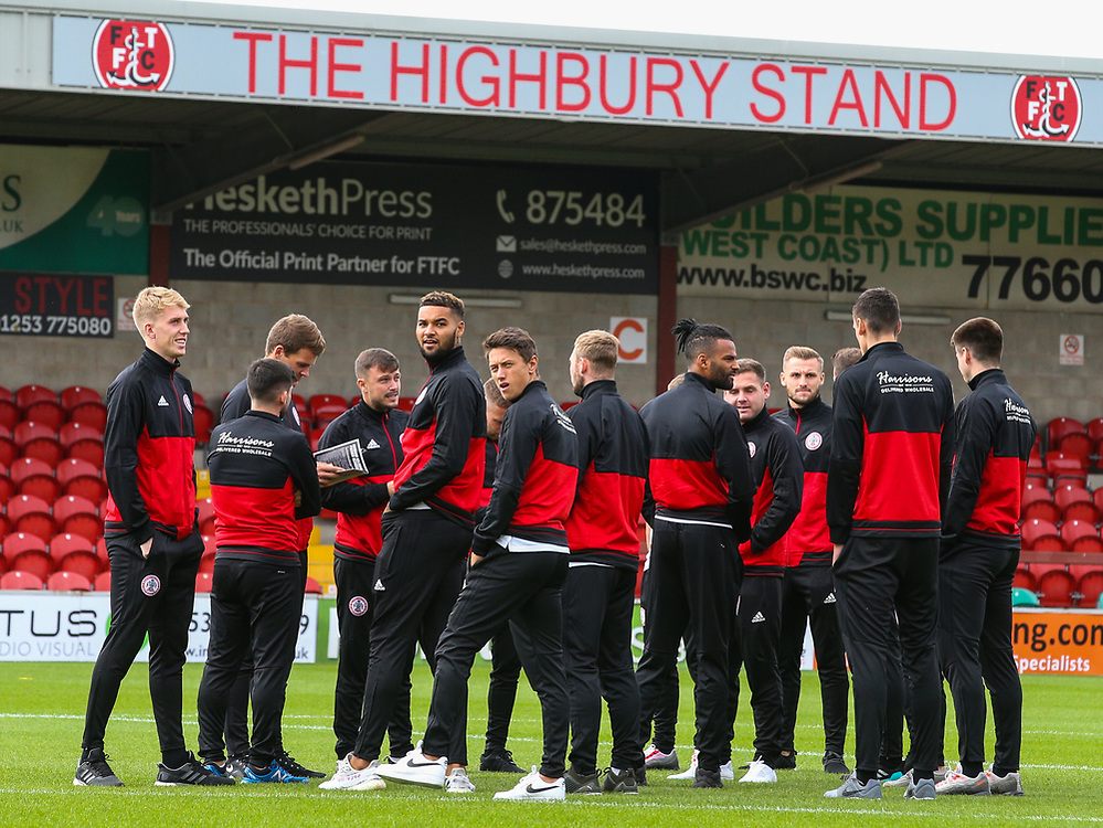 The Accrington Stanley team inspect the pitch before the match <br /> <br /> Photographer Alex Dodd/CameraSport<br /> <br /> The EFL Sky Bet League One - Fleetwood Town v Accrington Stanley - Saturday 15th September 2018  - Highbury Stadium - Fleetwood<br /> <br /> World Copyright © 2018 CameraSport. All rights reserved. 43 Linden Ave. Countesthorpe. Leicester. England. LE8 5PG - Tel: +44 (0) 116 277 4147 - admin@camerasport.com - www.camerasport.com