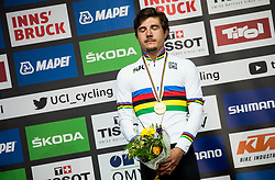 Podium / Marc Hirschi of Switzerland Gold Medal / Celebration / During the Men Under 23 Road Race a 179.9km Race from Kufstein to Innsbruck 582m at the 91st UCI Road World Championships 2018 / RR / RWC / on September 28, 2018 in Innsbruck, Austria. Photo by Vid Ponikvar / Sportida