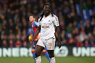 Bafetimbi Gomis of Swansea City looks on. Barclays Premier League match, Crystal Palace v Swansea city at Selhurst Park in London on Monday 28th December 2015.<br /> pic by John Patrick Fletcher, Andrew Orchard sports photography.
