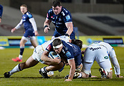 Sale Sharks flanker Jono Ross stretches through a tackle during a Gallagher Premiership Round 9 Rugby Union match, Friday, Feb 12, 2021, in Leicester, United Kingdom. (Steve Flynn/Image of Sport)