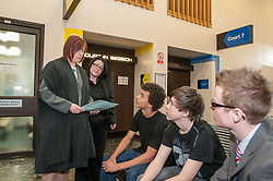 An Usher talks to witnesses in Sheffield Magistrates' court