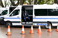 Heavy Police presence in Sydney CBD before the Black Lives Matter rally. This event was organised to rally against black deaths in custody in Australia as well as George Floyd, an unarmed black man killed at the hands of a police officer in Minneapolis, Minnesota and David Dungay who died in custody at Long Bay prison in Sydney. (Photo by Pete Dovgan/ Speed Media)