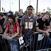 LAS VEGAS, NV, April 6 2006: Fans watch skateboarding pro Danny Way set a new Guinness World Record by jumping off the Fender Guitar at the Hard Rock Hotel in Las Vegas, Nevada on April 6, 2006. The record was for Freefall World Record on skateboard. He fell 28 feet and landed on a ramp. The geight of the drop from the guitar from the ground was 78 feet. Danny completed the trick twice. (Photo by Todd Bigelow/Aurora)