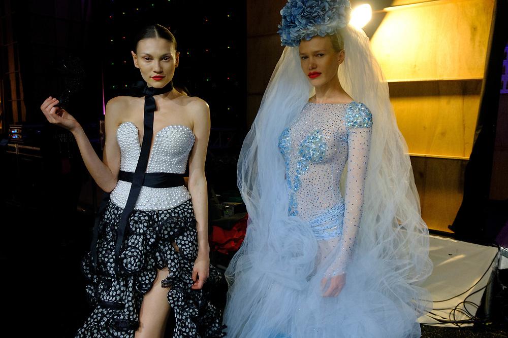 2019 Fashion Week El Paseo, in Palm Desert, California. Models backstage preparing to walk the runway for designer Emil Gampe. Photos by Tiffany L. Clark