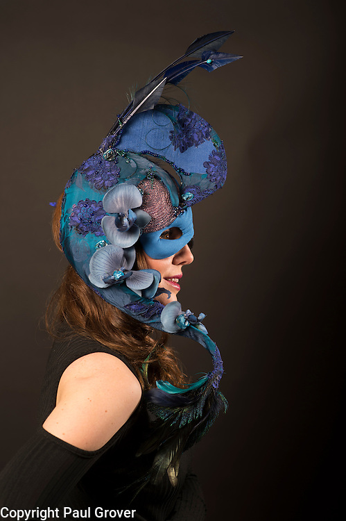 Milliner Natalie Ellner pictured in her studio wearing one of her creations Southern Blue a headpiece one 1 of 11 that she is providing to dress each set of guests with spectacular animal masks and headgear at the Animal Ball 2016 on November 22nd, the world's greatest fashion houses will collaborate to dress a bestiary of beautiful creatures from all corners of British society to celebrate and protect nature's greatest masterpieces