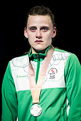 Northern Ireland's Michaela Walsh with her silver medal following the Woman's Feather (54-57kg) final at Oxenford Studios during day ten of the 2018 Commonwealth Games in the Gold Coast, Australia.