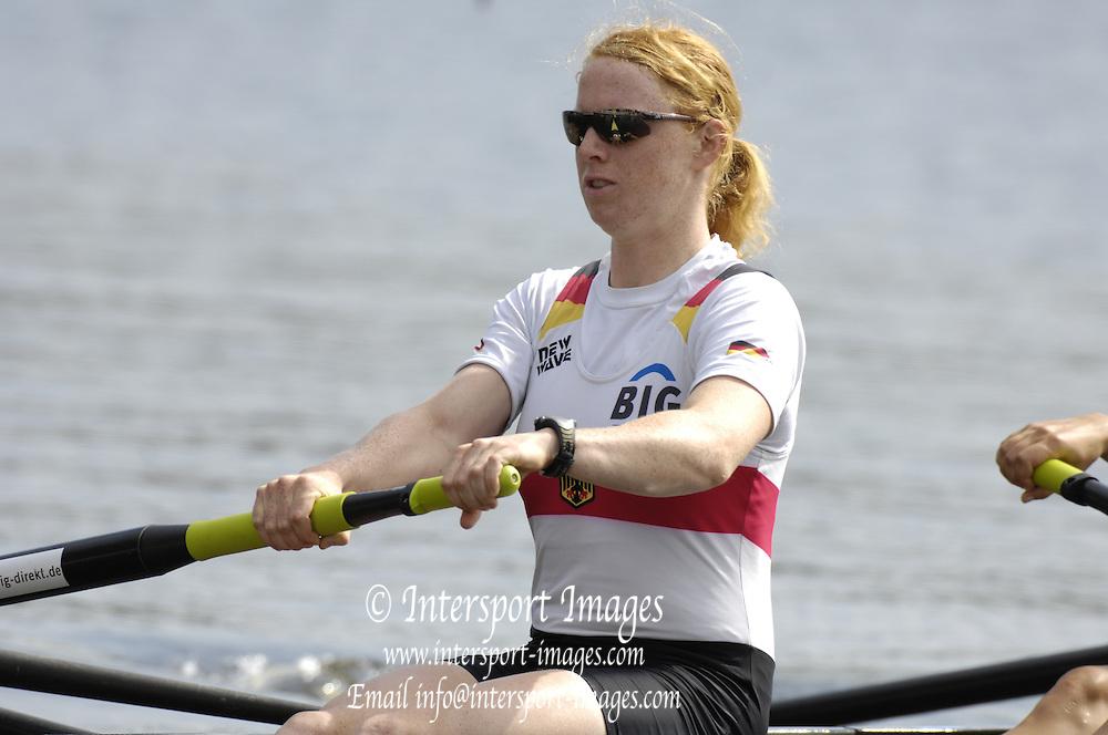 Poznan, POLAND,  GER W4-, Katrin RIENERT, 2008 FISA World Cup. Rowing Regatta. Malta Rowing Course on Saturday, 21/06/2008. [Mandatory Credit:  Peter SPURRIER / Intersport Images] Rowing Course:Malta Rowing Course, Poznan, POLAND