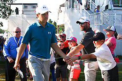 September 4, 2017 - Norton, Massachusetts, United States - Jordan Spieth interacts with fans after putting the 16th green during the final round of the Dell Technologies Championship at TPC Boston. (Credit Image: © Debby Wong via ZUMA Wire)