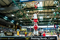 Dunking Devils perform during basketball match between KK Sixt Primorska and KK Petrol Olimpija in semifinal of Spar Cup 2018/19, on February 16, 2019 in Arena Bonifika, Koper / Capodistria, Slovenia. Photo by Vid Ponikvar / Sportida