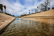 The beginning of the Los Angeles River at the confluence of Bell Creek and Arryo Calabasas in Canoga Park. San Fernado Valley, Los Angeles Coutny, California, USA
