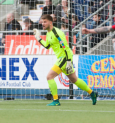 Falkirk's keeper Danny Rogers not happy after Raith's first goal. Falkirk v Raith Rovers. Scottish Championship game played 22/10/2016 at The Falkirk Stadium.