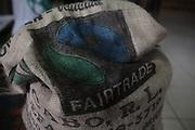 Cocoa beans sack with the Fair Trade logo on it. COCABO: Almirante, Changuinola, Bocas del Toro, Panamá. September 1, 2012.