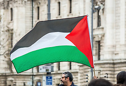 May 7, 2017 - MüNchen, Bayern, Germany - Palestinian flag. Approximately 50- pro-Palestine demonstrators assembled at Munich's famed Karlsplatz (Stachus) in solidarity with Palestinian hunger strikers allegedly in prison in Israel. (Credit Image: © Sachelle Babbar via ZUMA Wire)