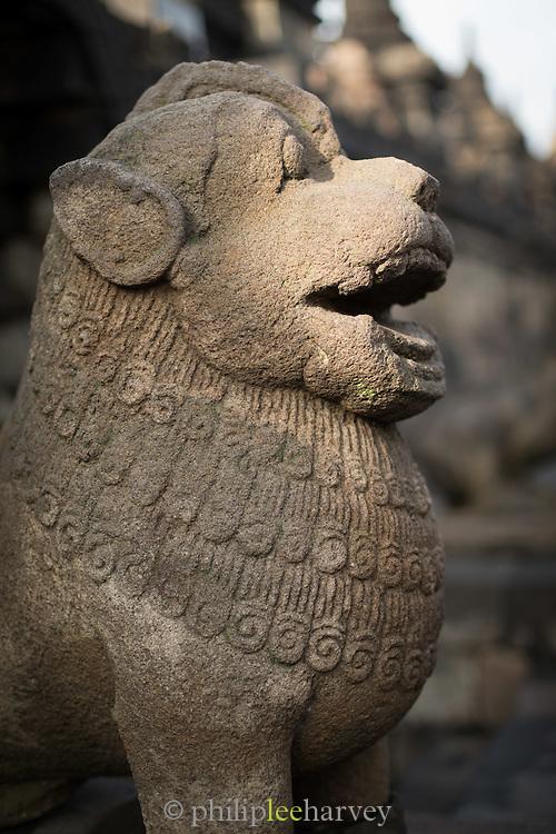 Lion gate guardian statue, Borobudur, Kedu Valley, South Central Java, Java, Indonesia, Southeast Asia