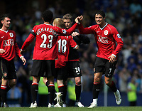 Photo: Paul Thomas.<br /> Everton v Manchester United. The Barclays Premiership. 28/04/2007.<br /> <br /> Cristiano Ronaldo (R) of Utd gives team-mate Kieran Richardson a high five after the game.