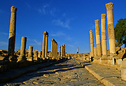 Broken columns line the streets of the ancient city of Jerash, just north of Amman, Jordan. The city's golden age came under Roman rule and is acknowledged as the best preserved provincial town in the world. Hidden for centuries under sand before being excavated and restored over the past 70 years.