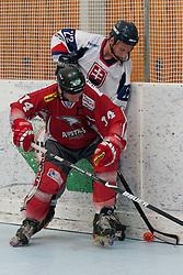 Yousef Reiner of Austria vs Jakub Sajdl of Slovakia at inline hockey match between Slovakia and Austria at HorjulCup, on June 10, 2011 in Sportni park, Horjul, Slovenia. (Photo by Matic Klansek Velej / Sportida)