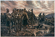 All That Was Left of Them', the Black Watch after the Battle of Magersfontein. After the drawing by R. Caton Woodville.  2nd Boer War 1899-1902