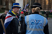 Police presence is increased as Anti Brexit pro Europe demonstrators protest waving European Union and Union Jack flags in Westminster opposite Parliament one week before MPs vote on the finalised deal on 8th January 2019 in London, England, United Kingdom. MPs will vote on Theresa Mays Brexit deal on Tuesday, 15 January, government sources confirmed.